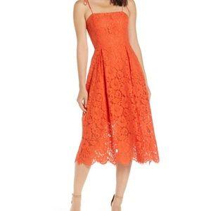 Tie Strap Lace Midi Dress tangerine M pre-owned